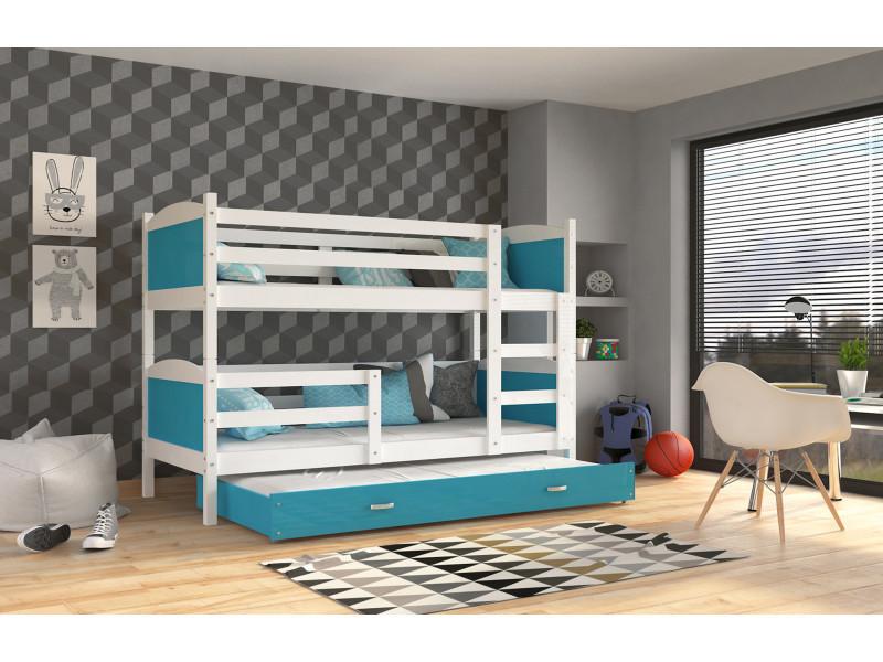lit superposé 3 places mateo 190x90 blanc bleu livré avec