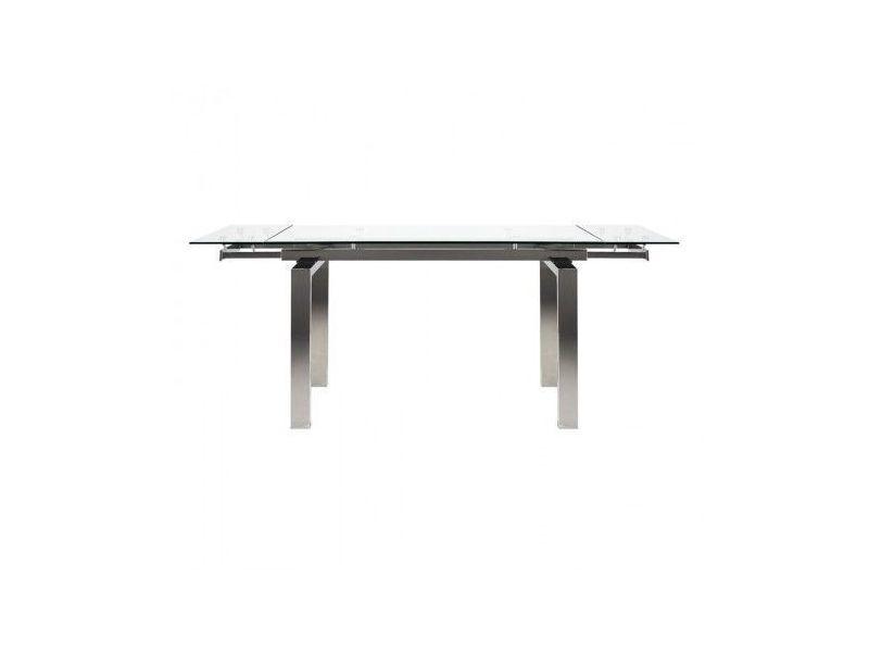 Table à rallonges verre et chrome urban empire 140-200 cm