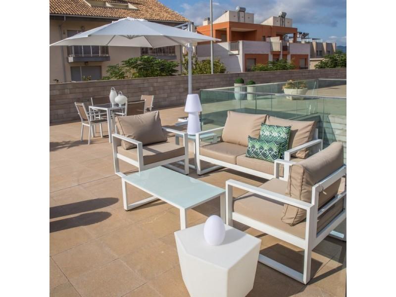 Salon de jardin 5 places en aluminium blanc et coussins ...