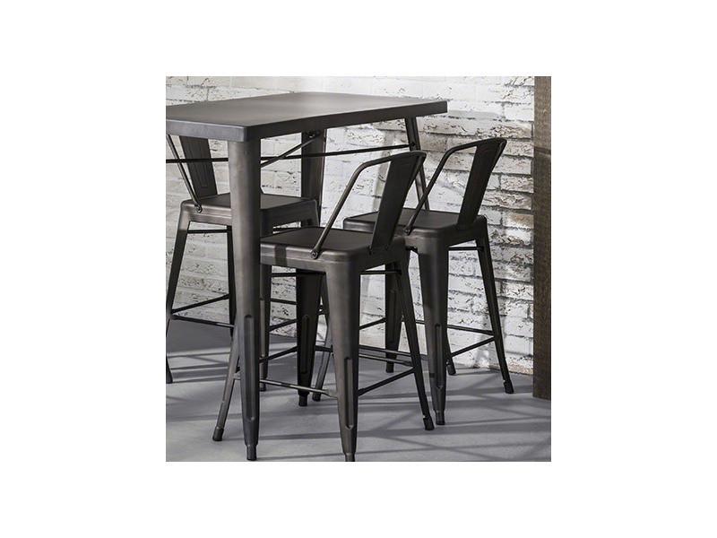 Metal Acier Finition Table Et SnackbarPlateau Pietement LMjqSpzUVG