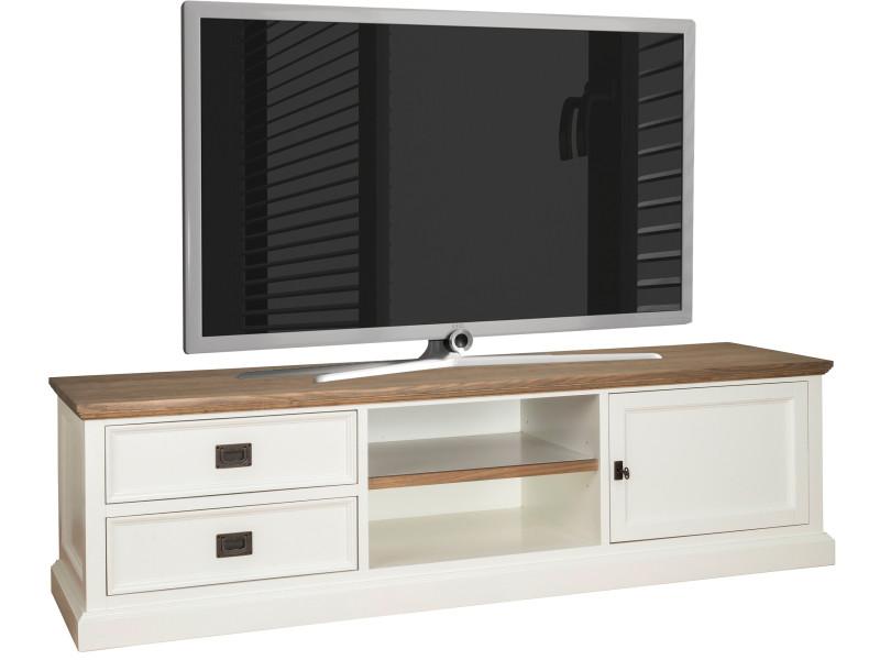 chaussures de sport ca3c7 48d0e Meuble tv blanc contemporain 2 tiroirs 1 porte en bois ...