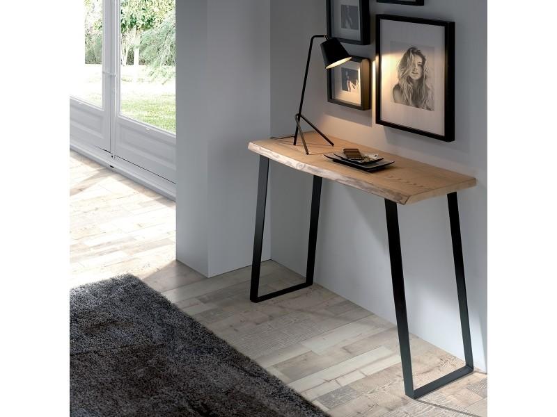 Petite console design brooklyn bois et métal 105x40cm parzendart selection