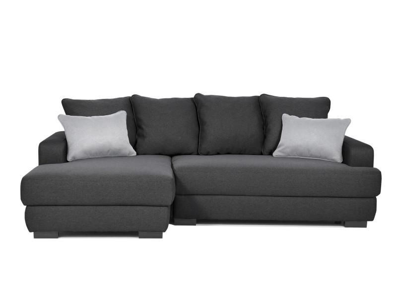Canapé d'angle gauche noir convertible 2 coussins