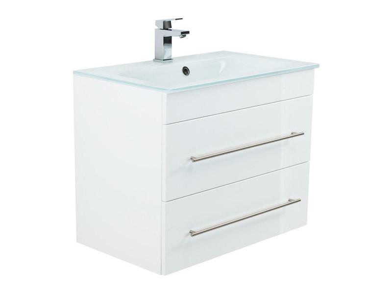 vasque en verre avec meuble Meuble salle de bain vitro 750 avec vasque en verre en blanc brillant