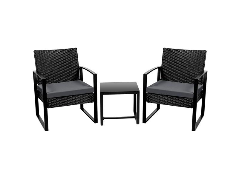 Yaheetech salon de jardin 2 fauteuils et 1 table basse pour salon/bar/bureau en résine tressée poly rotin exterieur interieur noir