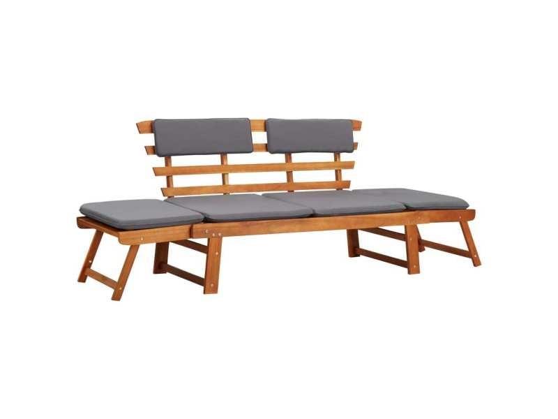 Joli sièges de jardin serie suva chaise longue avec coussin 2-en-1 190 cm bois solide d'acacia