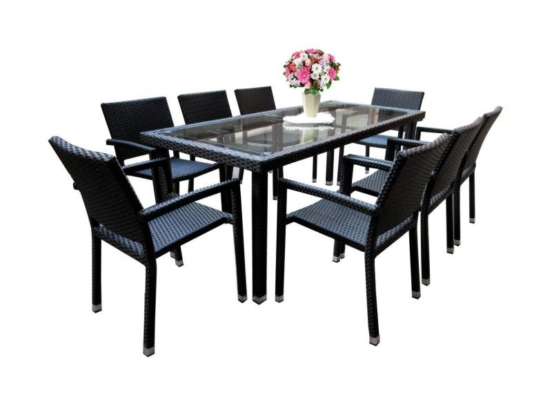 Salon de jardin 8 fauteuils en poly rotin table 192 cm - Vente de ...