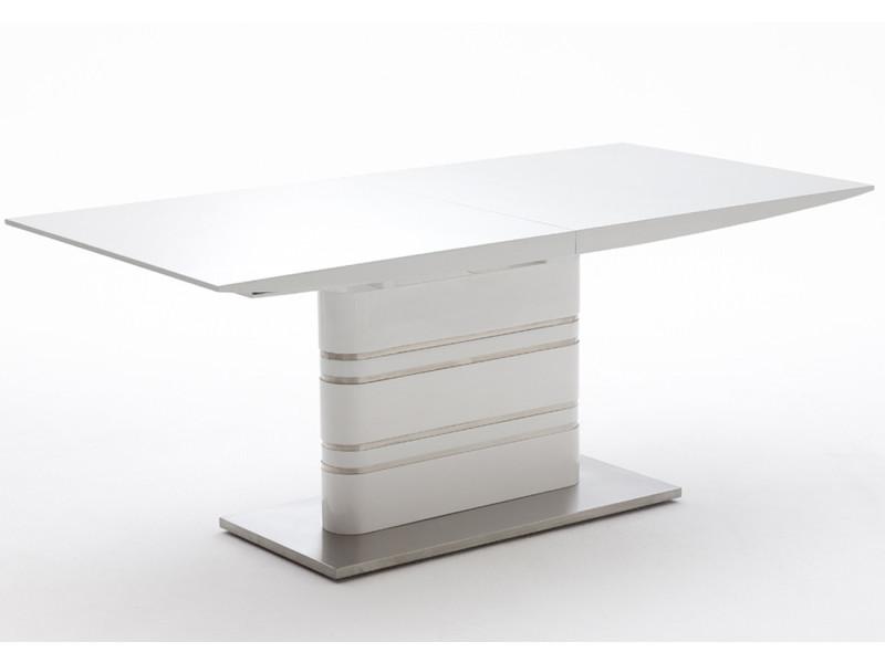 Table extensible avec rallonge blanc laqué brillant - l180-220 x h76 x p90 cm -pegane-