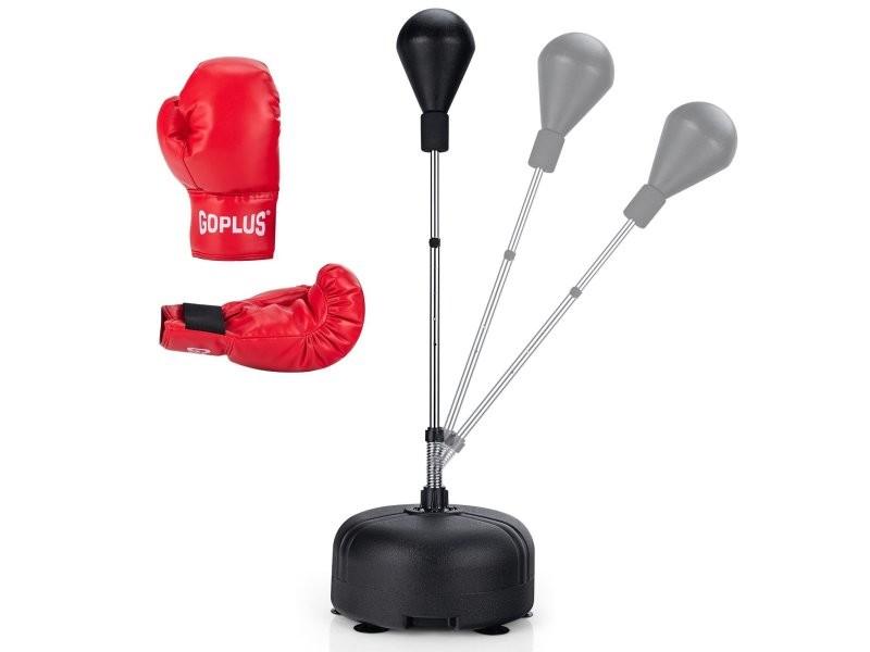 Punching ball sur pied réglable en hauteur 140-158 cm avec gants base lesté avec ventouses pour enfants/adultes helloshop26 20_0001032
