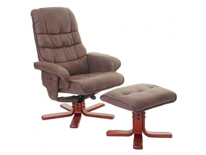 Fauteuil relaxant avec repose-pieds coloris marron - dim : h 103 x l 80 x p 66 cm -pegane-
