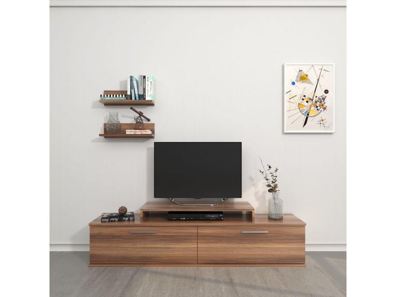 Meuble tv avec étagère design orione - l. 150 x h. 39 cm - marron