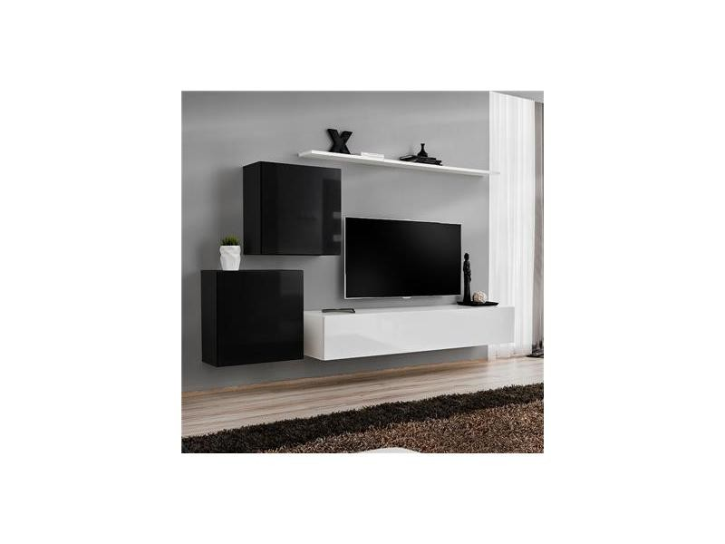 Meuble Tv Suspendu Noir Et Blanc Alceo 2 Vente De