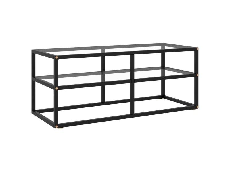 Vidaxl meuble tv avec verre trempé noir 100x40x40 cm