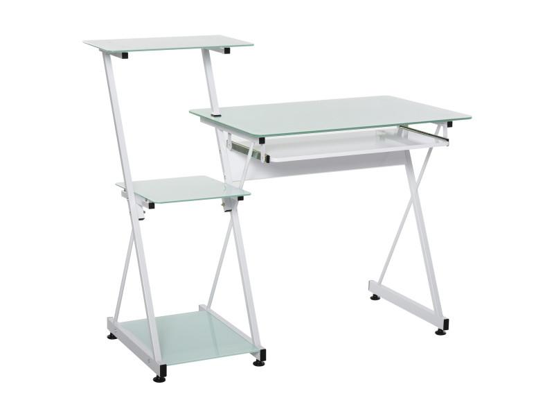 Bureau informatique design contemporain plateau + 3 étagères verre plateau clavier châssis métal blanc