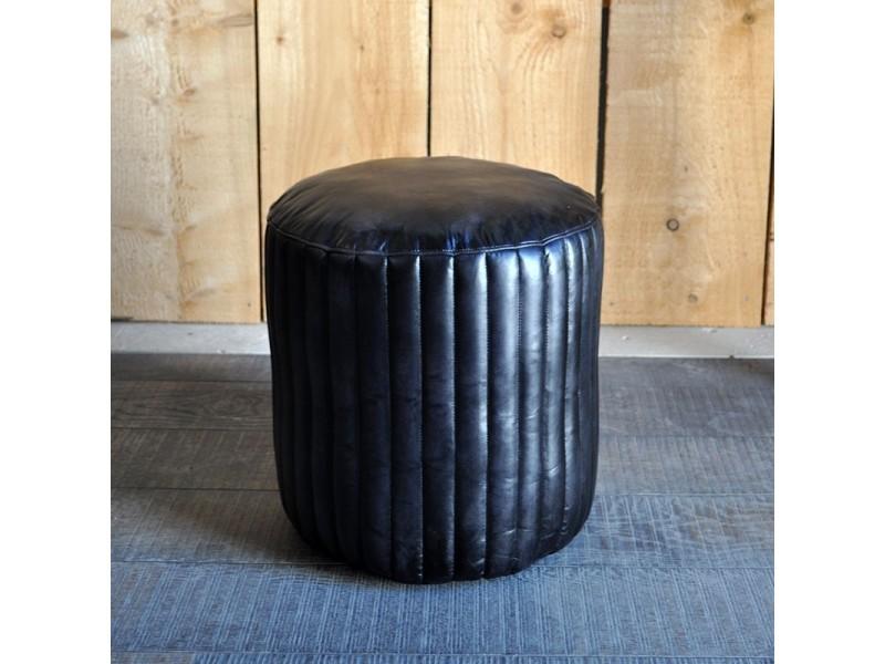 Pouf lery cuir noir 42x45 cm