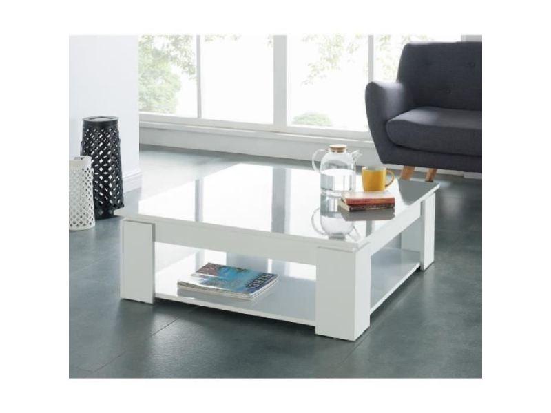 Table basse manhattan table basse carrée style contemporain blanc brillant - l 89 x l 89 cm