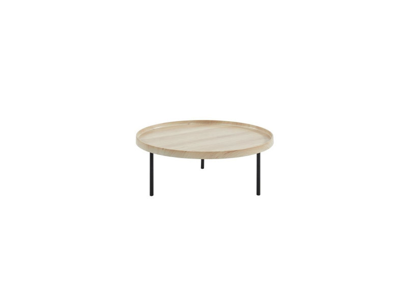 Moon Table Basse Ronde Style Industriel Decor Chene Clair
