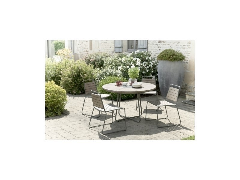 Salon de jardin en teck avec 1 table ronde et 4 chaises empilables ...