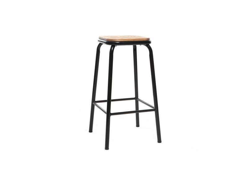 Cleep Conforama Tabouret De Bar Design Noir Et Bois