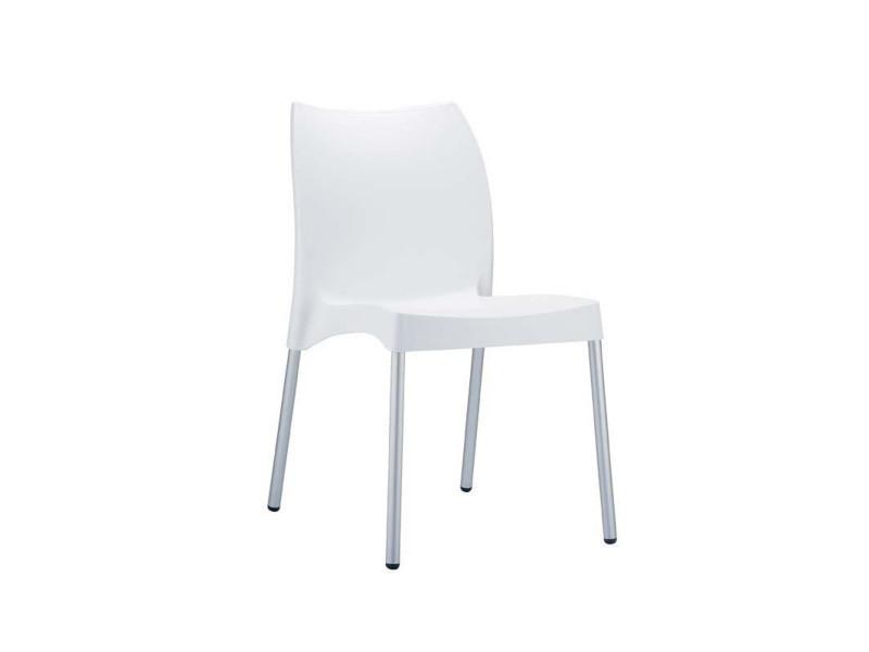 Chaise de jardin avec siège en plastique blanc - 80 x 44 x 53 cm -pegane-
