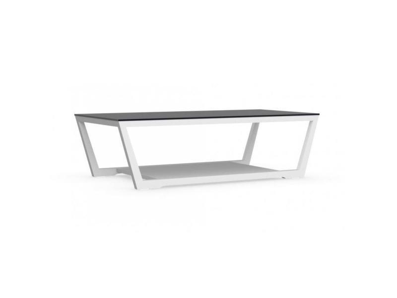 Table basse element blanche avec plateau en verre noir 20100846361