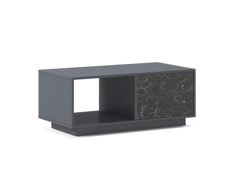 Table basse marbre, gris-marbre noir, 92x50x40cm