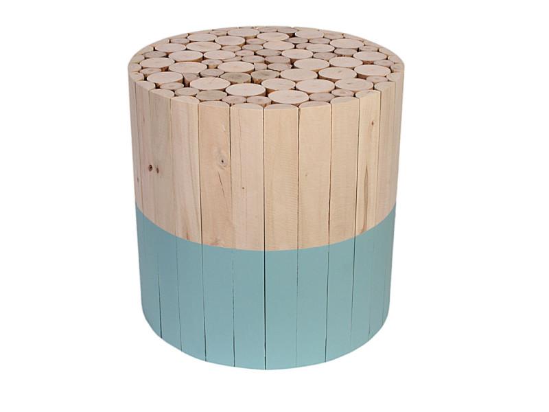Tabouret rond en bois - bleu