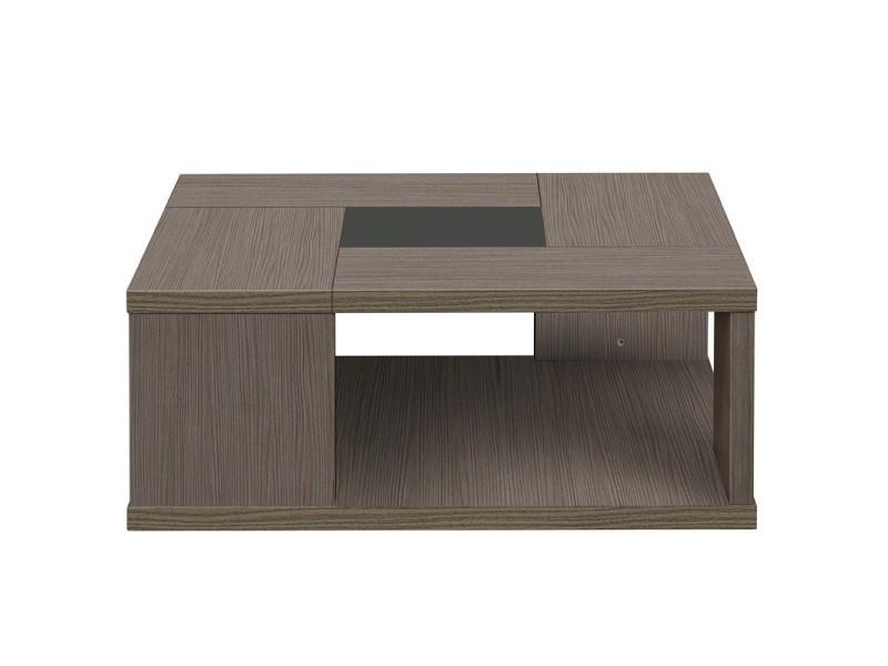 Table basse carrée chêne cérusé - hanny - l 90 x l 90 x h 36 - neuf