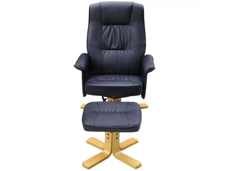 Icaverne - fauteuils club, fauteuils inclinables et chauffeuses lits serie fauteuil avec repose-pied réglable cuir synthétique noir