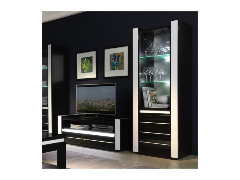 Price factory - ensemble pour votre salon lina. Meuble tv hifi + vitrine petit modèle + led. Meubles design haute brillance