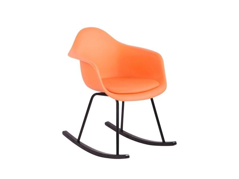Chaise Style Simili Fauteuil Orange Scandinave Plastique Bascule À SVpUqMz