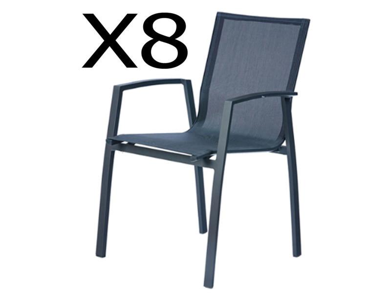 Lot de 8 fauteuils empilables en aluminium, anthracite - dim : 58 x 62 x h89 cm -pegane-