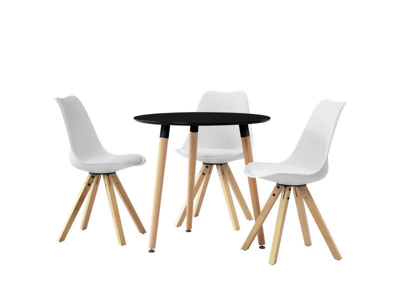 Table ronde avec le design rétro noir - blanc