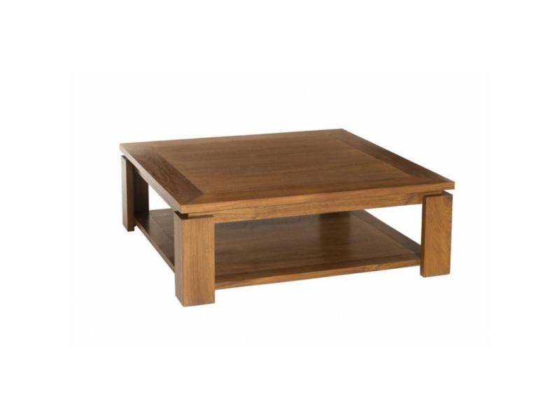 Table basse 90*90cm avec sous plateau style colonial en teck massif 20100837797
