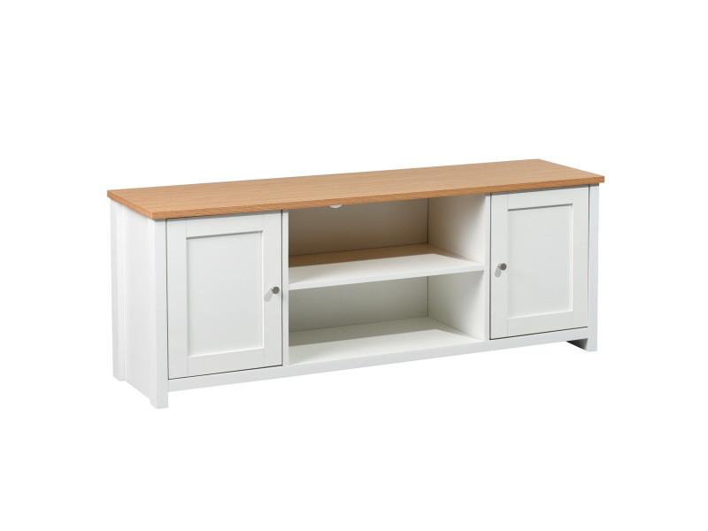 Meuble tv caisson mdf bois casier 2 portes blanc