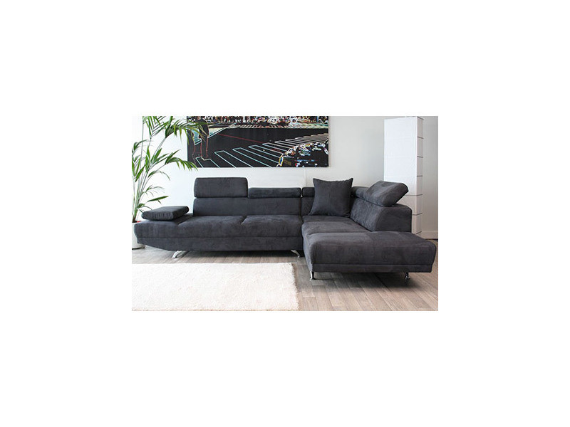 Canapé d'angle à droite 3 places en microfibre coloris gris anthracite