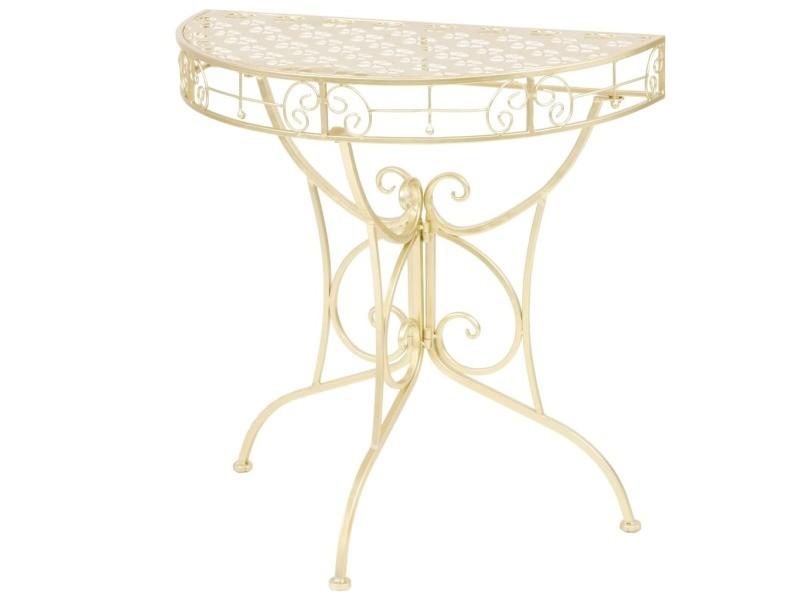 Vidaxl table d'appoint vintage demi-ronde métal 72 x 36 x 74 cm doré 245930
