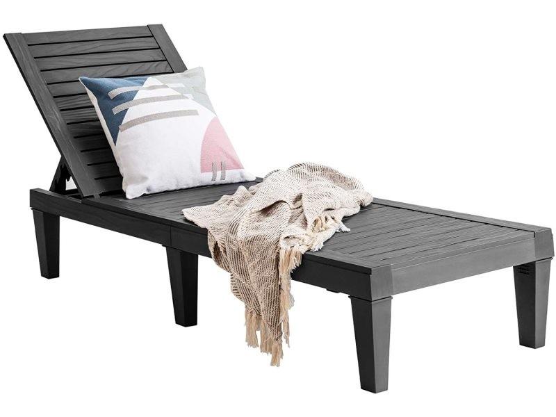 Costway chaise longue pour bain de soleil en pp, dossier réglable,meuble de jardin pour jardin,cour,piscine,patio,jusqu'à 180kg,190 x57,5x29-84,5cm (noir)