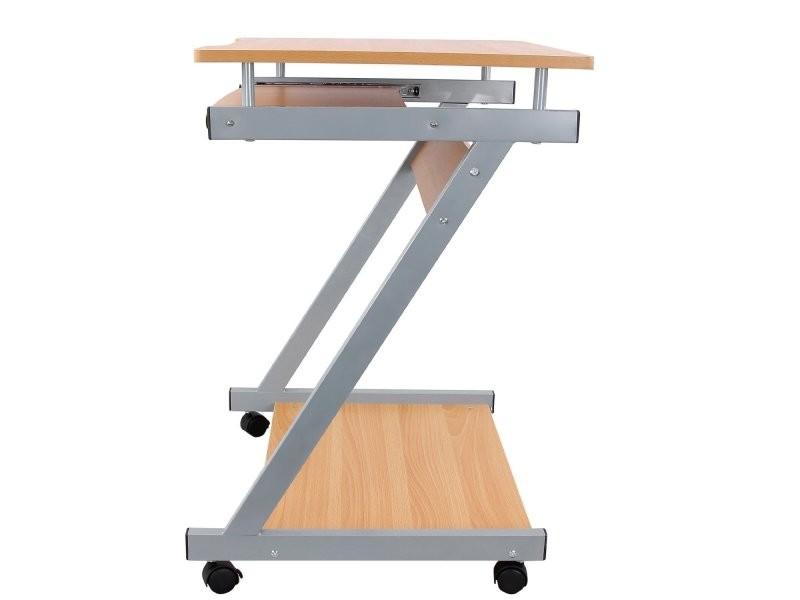 Bureau table meuble informatique avec tablette clavier bois foncé