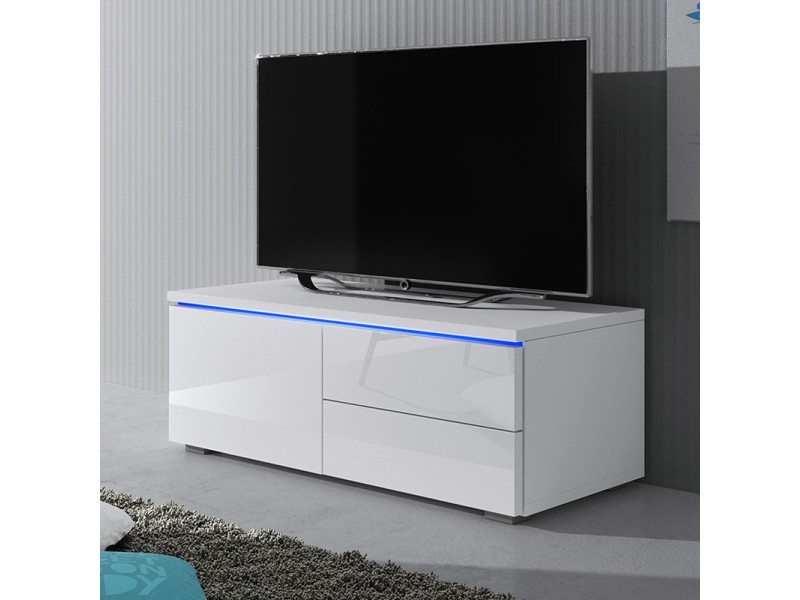 Meuble Tv Luvitca Singuli 100 Cm Blanc Mat Blanc Brillant Selsey France Vente De Meuble Tv Conforama