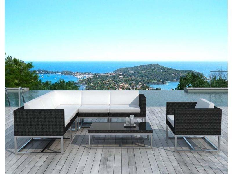 Salon de jardin en résine tressée noire - bali SD1001-BLACK-WHITE ...