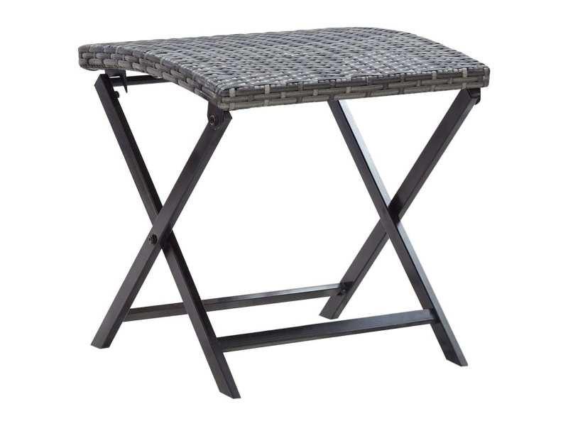 Joli mobilier de jardin famille dodoma tabouret pliable résine tressée gris