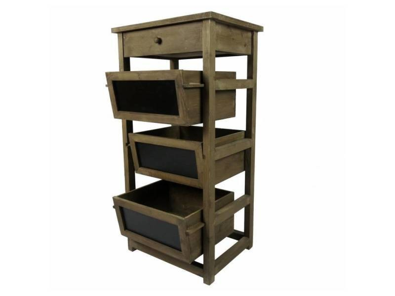Semainier colonne à 1 tiroir 3 casier ardoise en bois console d ...