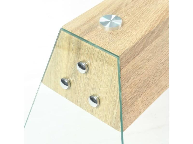 Vidaxl table console mdf et verre 120 x 30 x 76 cm couleur de chêne 245638