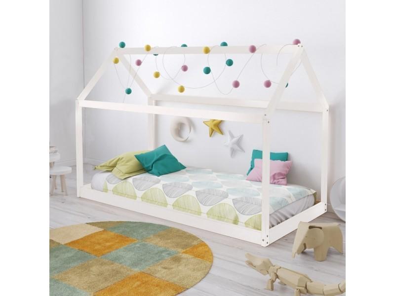Lit Cabane Panda 70x140 1 Sommier Blanc Vente De Lit Enfant