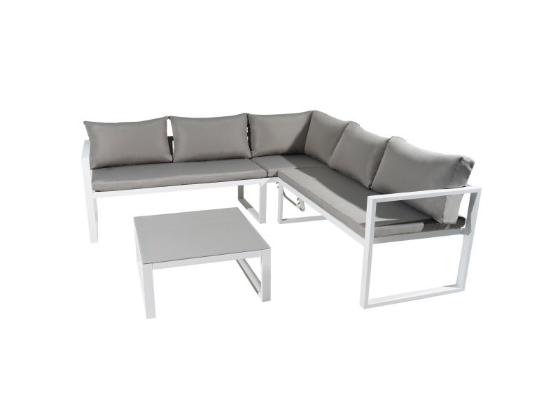 Salon de jardin modulable ibiza en tissu gris 4 places - aluminum ...