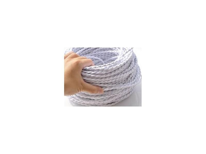 Fil électrique tressé blanc vintage look retro en tissu