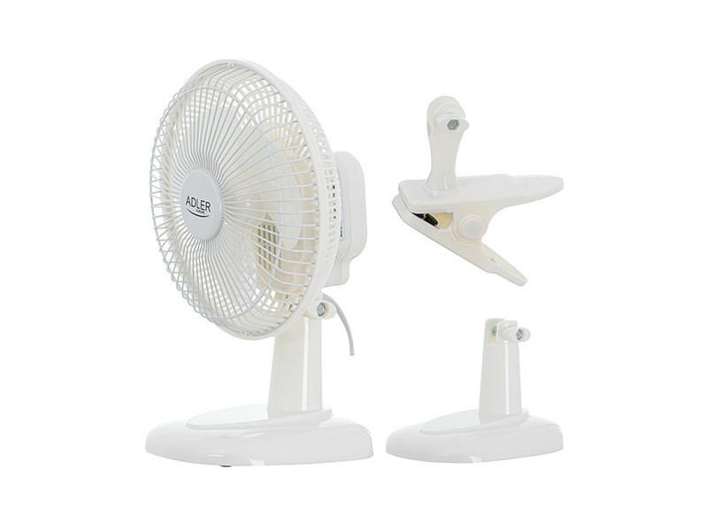 Ventilateur de table de 15 cm avec clip + socle 15w blanc