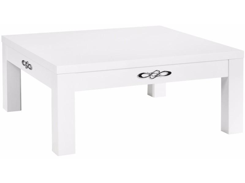 plus de photos fa5dd 9df2c Table basse 100x100 cm coloris blanc laqué p-22209-co c ...