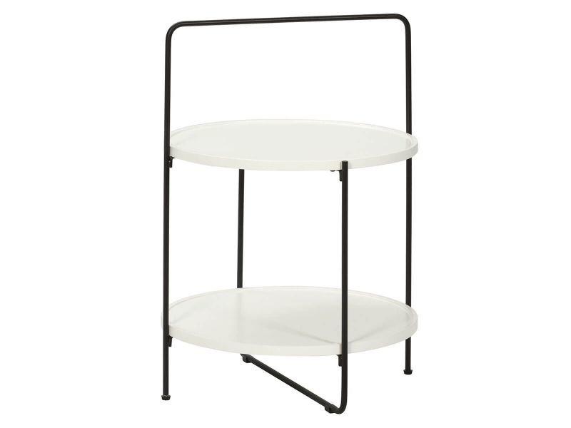 Tressia - table d'appoint ronde avec plateaux blancs